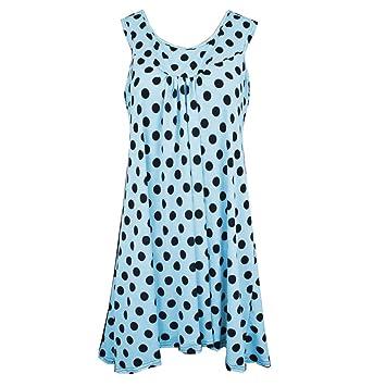 Igemy--- Camisa de Mujer sin Mangas con Lunares para Verano, Mujer,