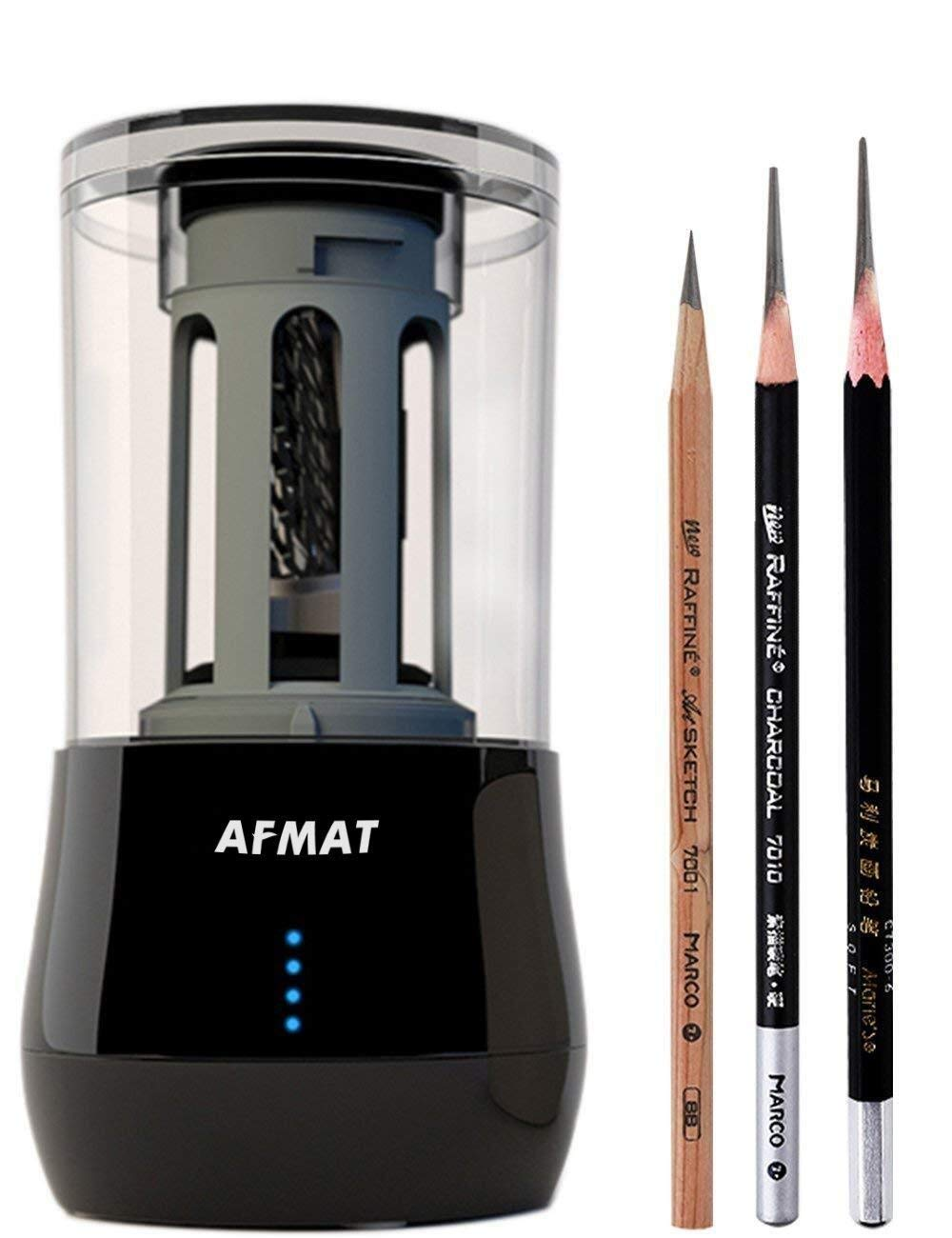 Long Point Pencil Sharpener, Professional Electric Pencil Sharpener, Heavy Duty Art Drawing And Sketching Rechargeable Pencil Sharpener, Artists Supplies for Prismacolor Colored & Soft Carbon Pencils AFMAT
