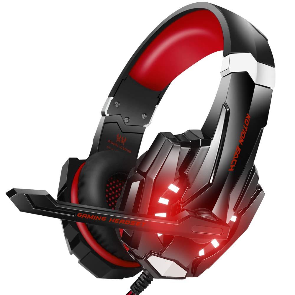 Auriculares Gaming Con Iluminacion Led roja, Bengoo (xmp)