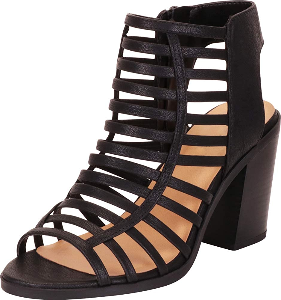 Black Nbpu Cambridge Select Women's Open Toe Caged Cutout Strappy Chunky Stacked Block Heel Ankle Bootie