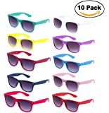 Newbee Fashion - 80's Classic Blue Brothers Horn Rimmed Style Wayfarer Colors Packs Vintage Retro Sunglasses (10 PACK)