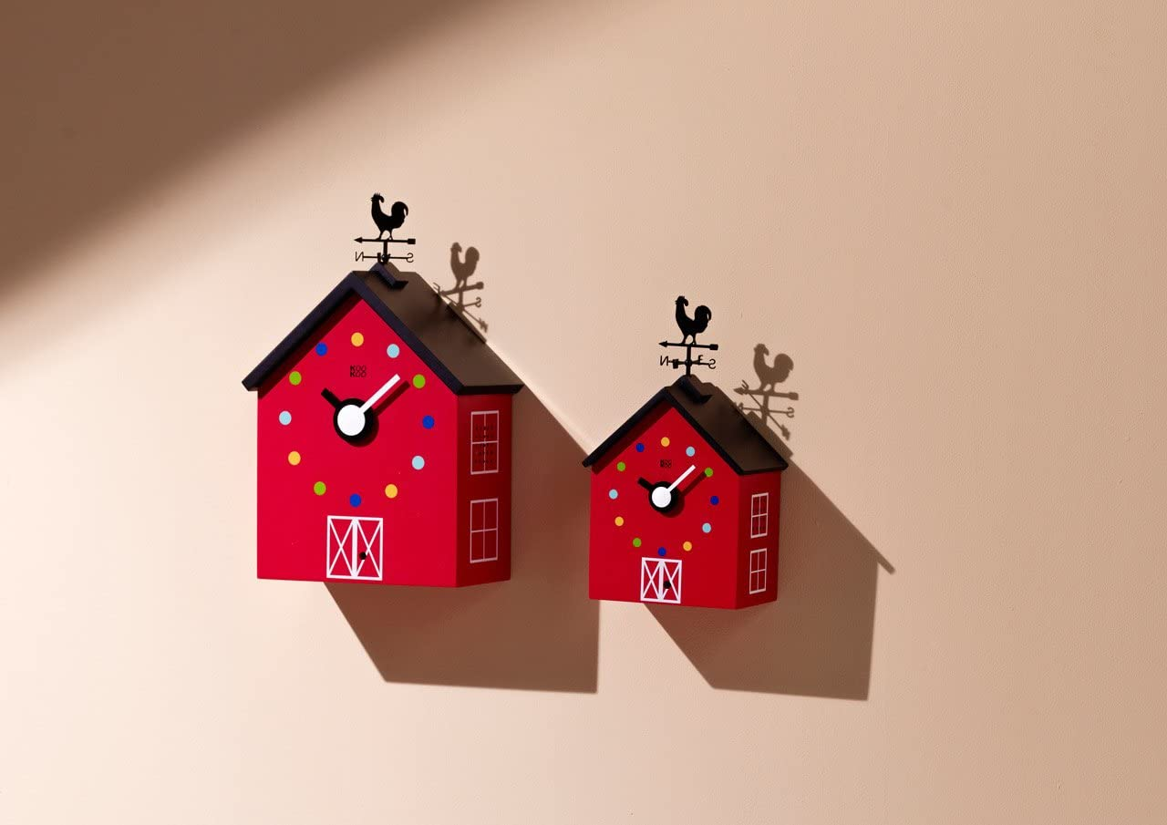 Bois MDF pour Enfants 6+ Ans KOOKOO RedBarn Small Un Coq et Une girouette rotative avec capteur de lumi/ère petitte Pendule de Ferme avec 12 Sons danimaux