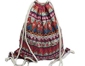 6146593d42 Kanggest Drawstring Backpack Drawstring Gym National Style Backpack Cute  Gym Rucksack School PE Kit bag Tote