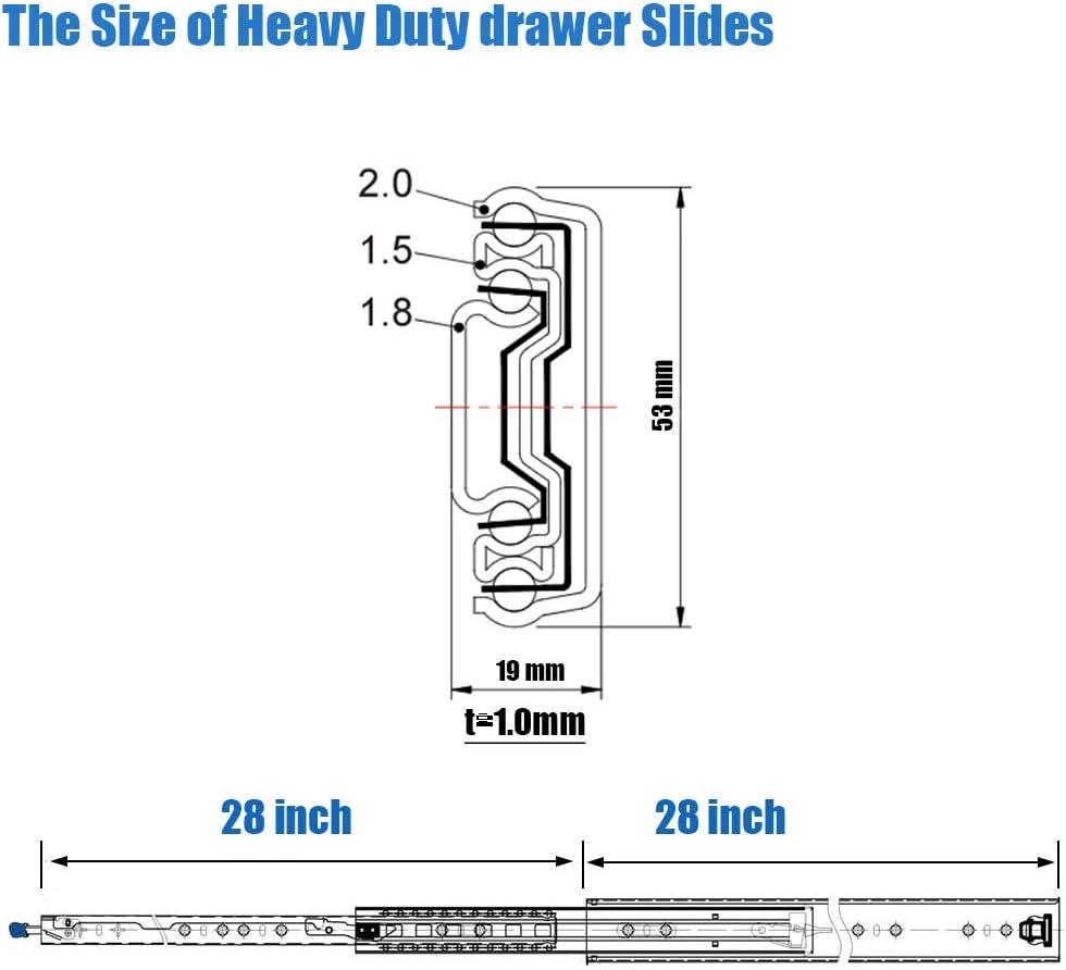 VESLA HOME 1 Pair 28 Inch Heavy Duty Drawer Slides 3-Section Full ...