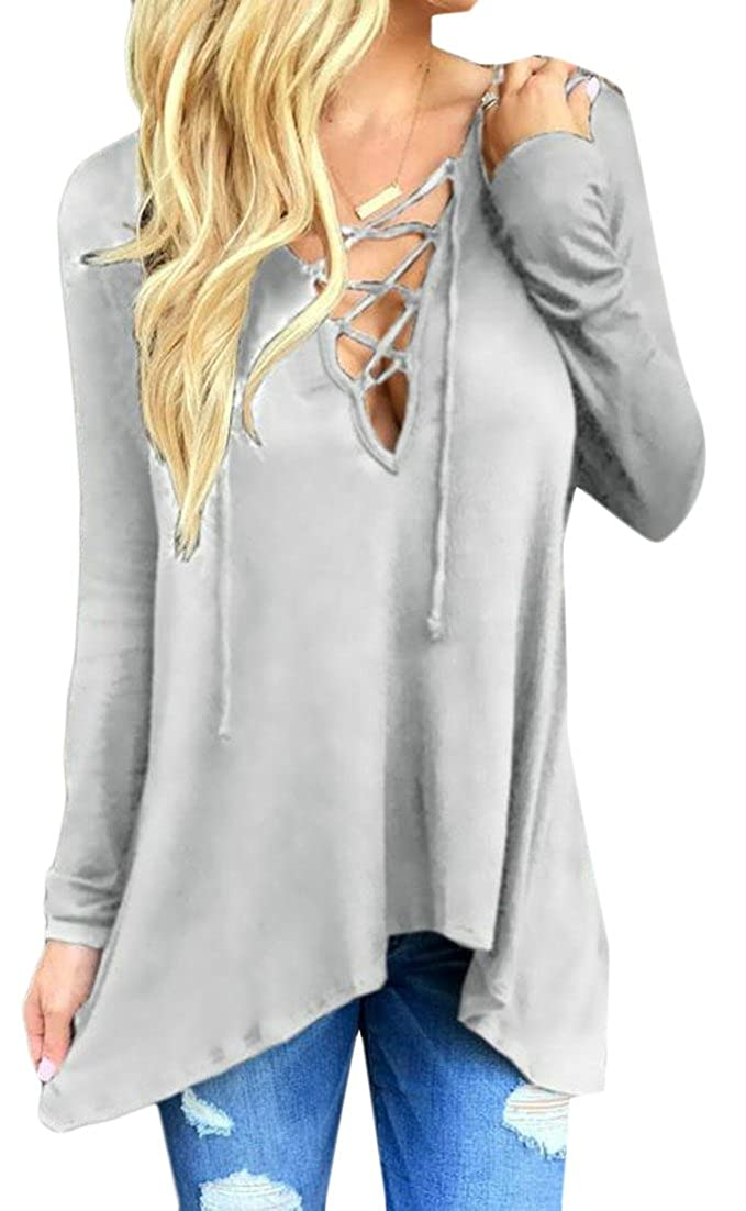 Cruiize Womens Lace up Long Sleeve Loose Hoodie Tops T-Shrit Blouse
