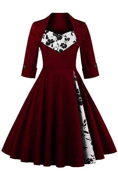 Babyonlinedress Vestido Estilo Vintage y clásico a los años 50 con Gran Swing