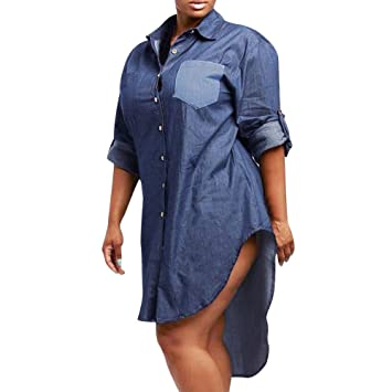 9edd99cd Sumen Women Botton Down Denim Shift Shirt Dress Long Sleeve Blue Jeans  Tunic Tops (S