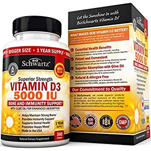 Vitamin D3 5,000 IU. Superior Absorption. 360 Tiny Softgels. Gluten Free & Non-GMO Best Vitamin D3 Supplement. Healthy Muscle Function, Bone Health and Immune Support. Made in USA