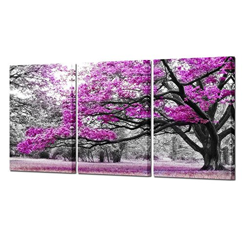 Kreative Arts - 3 Piece Canvas Wall Art Big Red Tree in Black and White Style Autumn Landscape Picture Modern Home Decor Stretched and Framed Ready to Hang