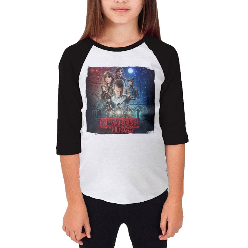 101dog Stranger Things Unisex Youth Casual 3/4 Raglan T-Shirt L