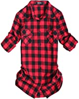 OCHENTA Women's Mid Long Style Roll Up Sleeve Plaid Flannel Shirt