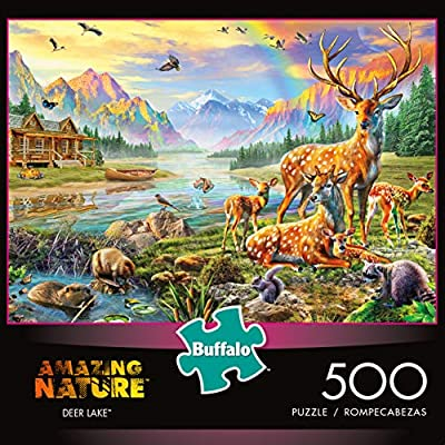 Buffalo Games - Amazing Nature Collection - Deer Lake - 500 Piece Jigsaw Puzzle: Toys & Games