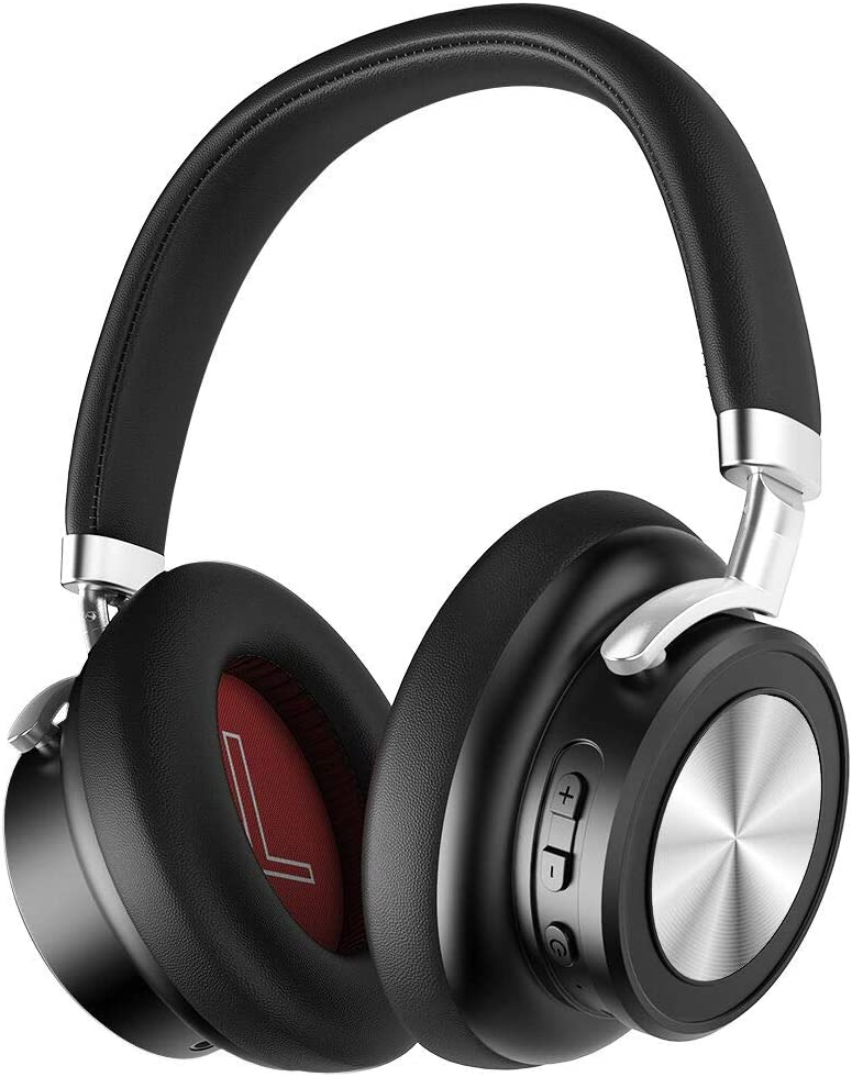 Deep Bass Bluetooth Headphones Over Ear,Noise Cancelling Bluetooth v5.0 Headsets, Over Ear Wireless Headphones with Mic, Quick Charge, Voice Assistant for Work Travel (Black)