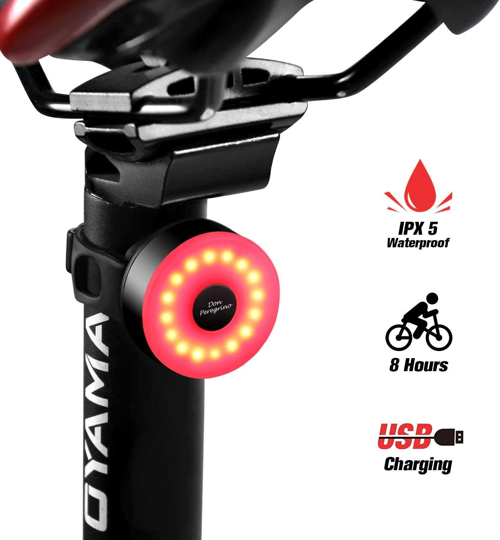 DONPEREGRINO M2 - Luz Trasera Bici Compacta hasta 56 Horas de Autonomía, LED Luz Bicicleta USB Recargable con 5 Modos Novedosos