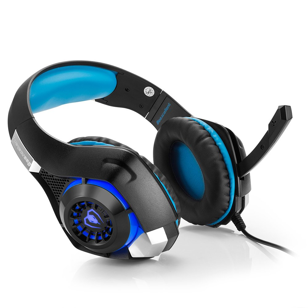 Beexcellent GM-1 Gaming Headset, Stereo Gaming Headphones Noise Isolation/LED Light/Bass Surround Over-ear/Mic USB & 3.5mm Wired for PS4 Xbox one PC (Blue) by Beexcellent (Image #2)