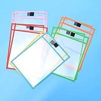 Lote de 12 fundas transparentes con 1 pluma pizarra borrado para hoja A4 – 6 colores