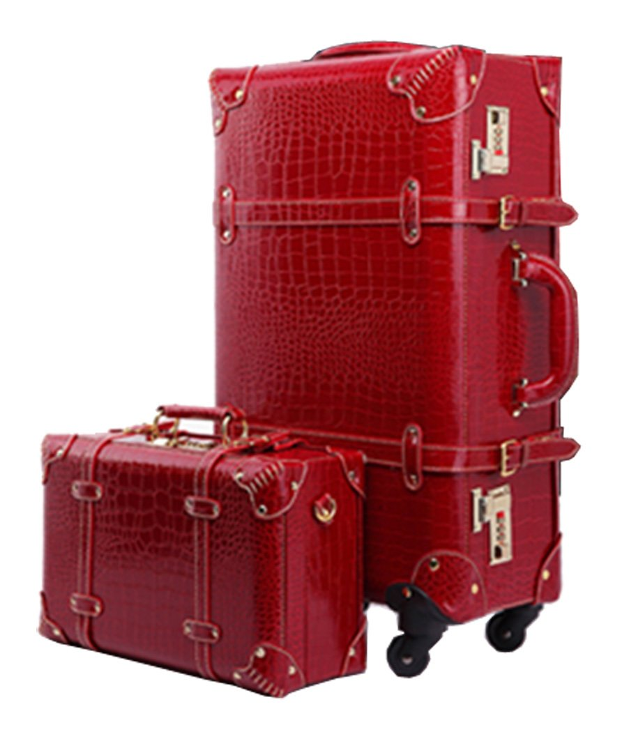 Shiqin Womens PU Leather Crocodile Pattern Spinner Wheels Luggage Set - 24''Wine Red