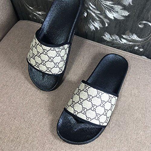 Xing Lin Sandalias De Hombre Zapatilla De Parejas De Verano Word Hombres Hombres Y Mujeres Sandalias En Interiores Y Exteriores De Las Abejas Inicio Impresa Moda Calzado De Playa Brown