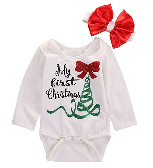 hotone newborn baby boy girl long sleeve my first christmas romper jumpsuit outfits 0