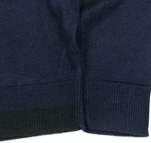 【COMME CA MEN】コムサメン 配色ライン クルーネック ニット セーター 紺