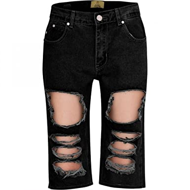 5068850af58 Island Trading Mens Long Denim Shorts Distressed Ripped Summer Half Jean  Pants  Amazon.co.uk  Clothing