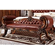 Ma Xiaoying Bed End Bench.Solid Wood Beech Frame Carved by Hand, Antique Furniture with Leather Surface. European Classic style,Brown by Ma Xiaoying