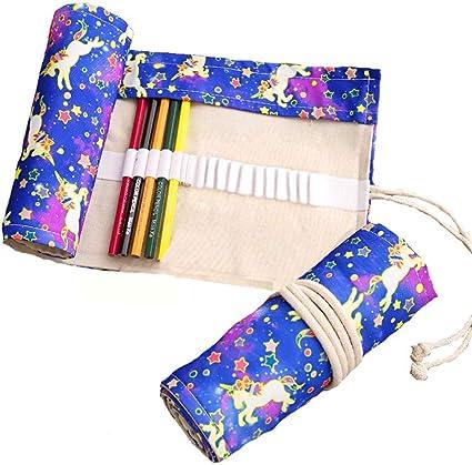 Bolsa para lápices de tela, 48 agujeros, estuche para lápices enrollable, sobre de lápices para escuela, oficina, viaje (unicornio): Amazon.es: Oficina y papelería