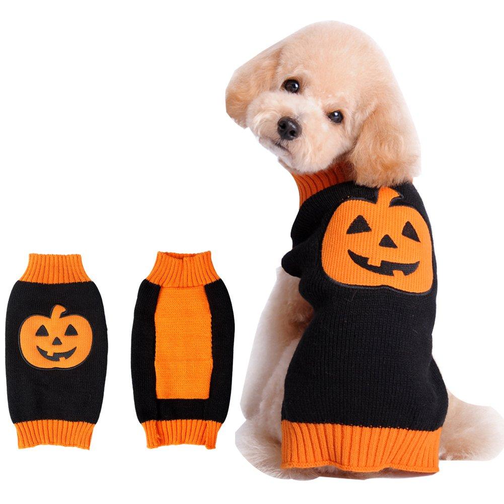 BOBIBI Pet Clothes the Halloween Pumpkin Cat Dog Sweater, Dog Knitwear, Dog Apparel, Pet Sweatshirt Medium