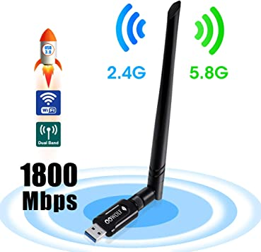 OOWOLF WiFi Adaptador De Red USB, AC 1200Mbps USB 3.0 Dongle ...