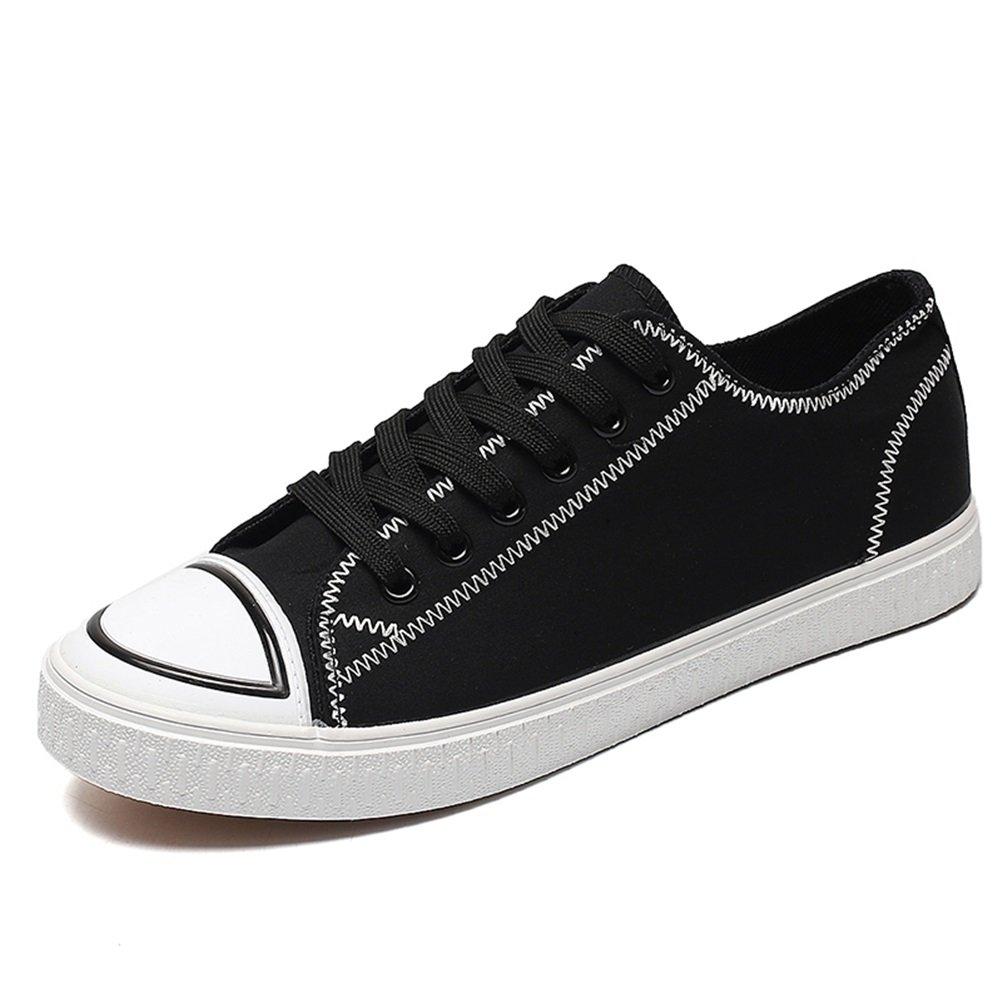 HUAN Zapatos de Los Hombres de Lona de Primavera y Verano Zapatos de Otoño vulcanizados Para Las Zapatillas de Deporte de Moda Informal Rojo, Negro 43 EU|Black