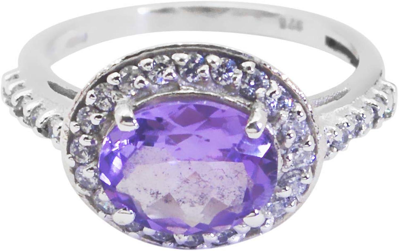 Wholesale 925 Solid Sterling Silver Cute Genuine Purple Ring Amethyst Purple Gems Silver Ring
