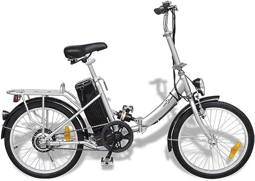 Festnight Bicicleta Eléctrica Plegable de Aluminio con Batería ...
