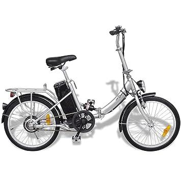 Festnight Bicicleta Eléctrica Plegable con Batería Litio-Ion 24V 8AH de Aluminio con Pantalla LED 3 Velocidades Velocidad Máx 25kmh Color Plateado: ...