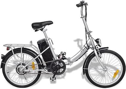 Festnight Bicicleta Eléctrica Plegable con Batería Litio-Ion 24V 8AH de Aluminio con Pantalla LED 3 Velocidades Velocidad Máx 25kmh Color Plateado: Amazon.es: Deportes y aire libre