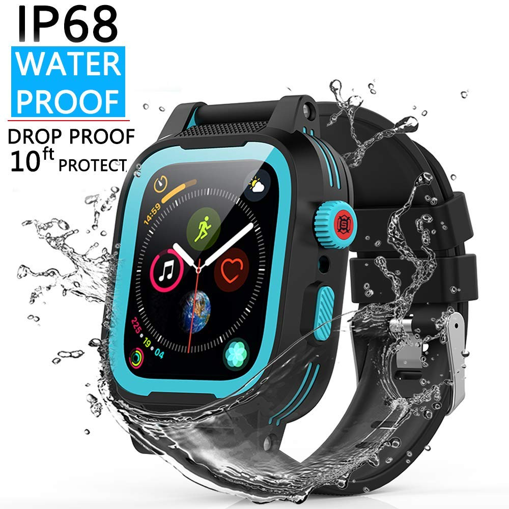 YOGRE Apple Watch 44mm Waterproof Case with Built-in Screen Protector, IP68 Certified 10ft Depth for iWatch 44mm Series 4, Shockproof Watch Case Comes with 2 Soft and Breathable Silicone Watch Band by YOGRE