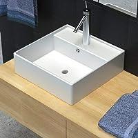 vidaXL Luxueuse vasque céramique carrée avec trop plein 41 x cm