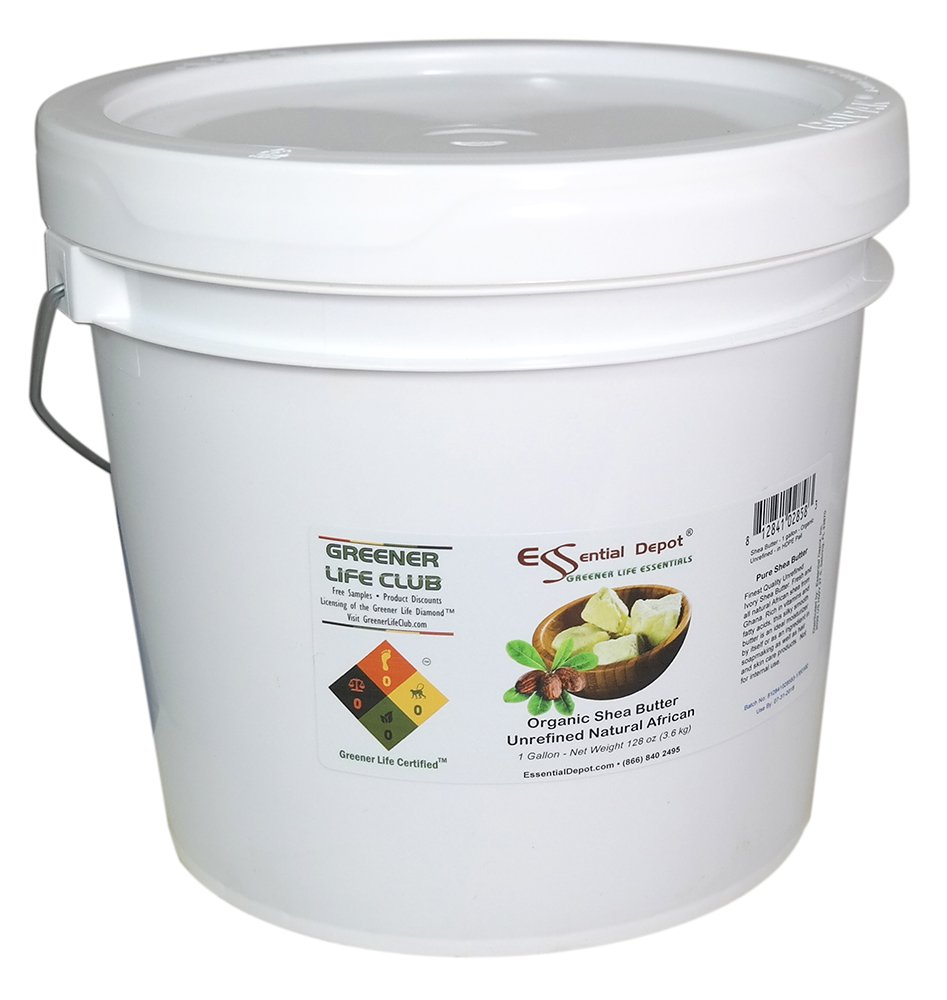 Shea Butter - Grade A - Organic - Unrefined - 8 lbs in a 1 HDPE Gallon Pail - HDPE microwavable container with resealable lid and removable handle by Essential Depot