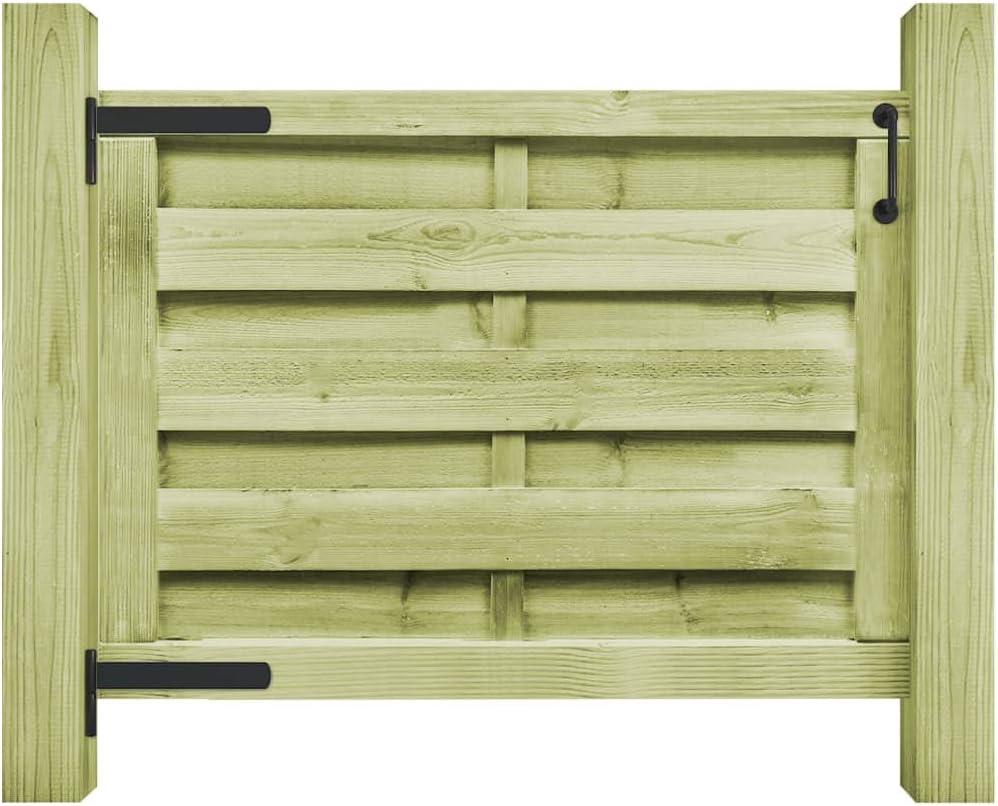 vidaXL Puerta de Jardín Madera Pino Verde FSC 100x75cm Verja Cercado Entrada: Amazon.es: Bricolaje y herramientas