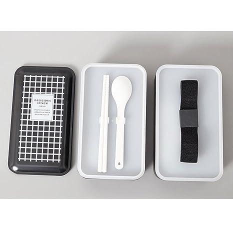 TAMUME Negro Fiambrera de 2 Niveles con Reutilizable Cuberteria, Incluso Compartimientos de Alimentos Separados para Mantener el Gusto por los Alimentos ...