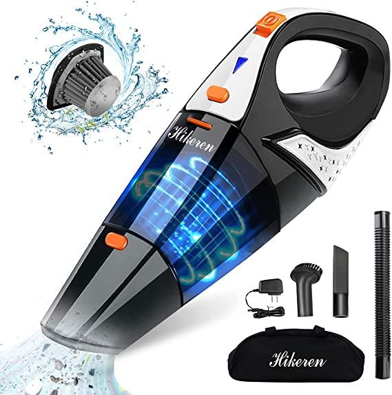 Hikeren Handheld Vacuum, Hand Vacuum Cordless 7Kpa Strong Suction Powered by Li-ion Battery Rechargeable Quick Charge Tech, Mini Vacuum for Home and Car Cleaning, Black& Orange best handheld vacuum