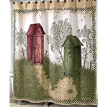 Outhouses Shower Curtain | Country Decor Fabric Shower Curtain