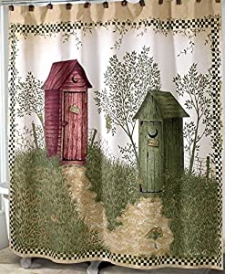 Good Outhouses Shower Curtain | Country Decor Fabric Shower Curtain Regarding Outhouse Shower Curtain