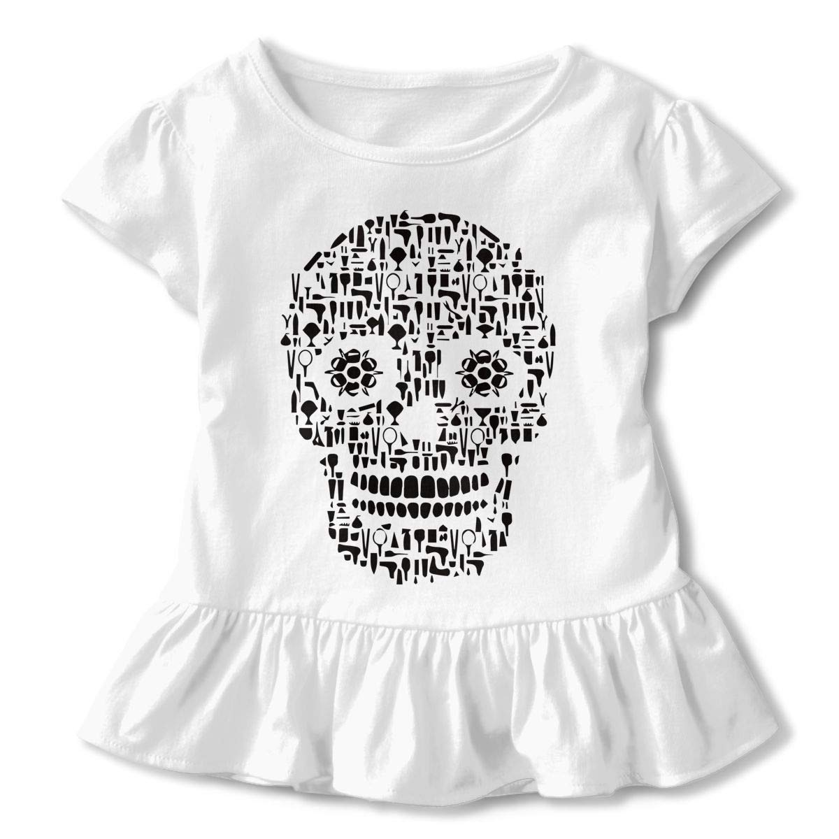 Hair Stylist Sugar Skull Hairstylist Toddler//Infant Girls Short Sleeve T-Shirts Ruffles Shirt Tee for 2-6T