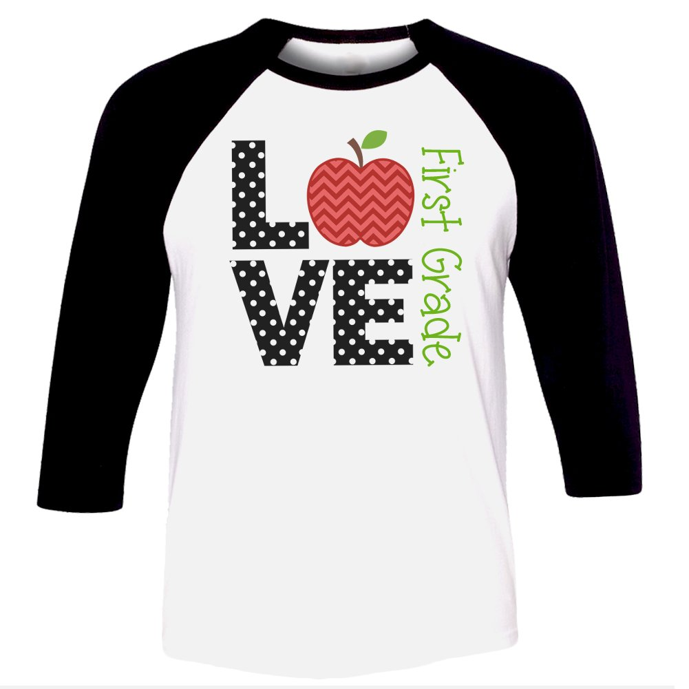 LOVE FIRST GRADE - TEACHER UNISEX RAGLAN SHIRT (Medium, Black/White)