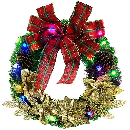 Wreaths Led Christmas - Athoinsu Prelit Easter Christmas Wreaths Artificial Pine Cones Gold Flowers Leaf Spruce LED Decoration Battery Operated for Holiday Door Wall Indoor Ornaments, 16 Inch(Style 2)