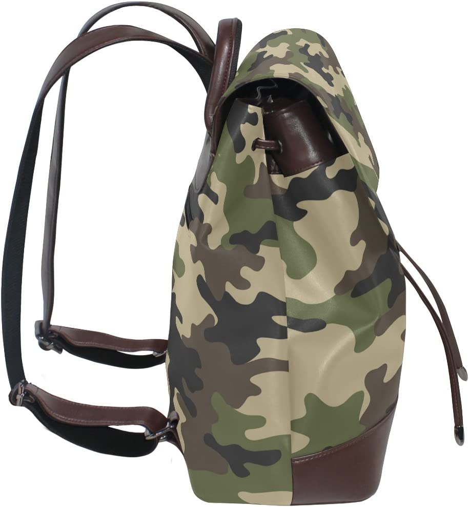 KUWT Camouflage PU Leather Backpack Travel Shoulder Bag School College Book Bag Casual Daypacks Diaper Bag for Women and Girl