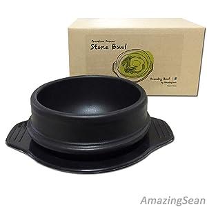 "Korean DOLSOT Stone Bowl with Trivet, Premium Ceramic, Stone Pot Hot Pot for Bibimbap Soup Jjiage Korean Food (Medium (5.8""))"