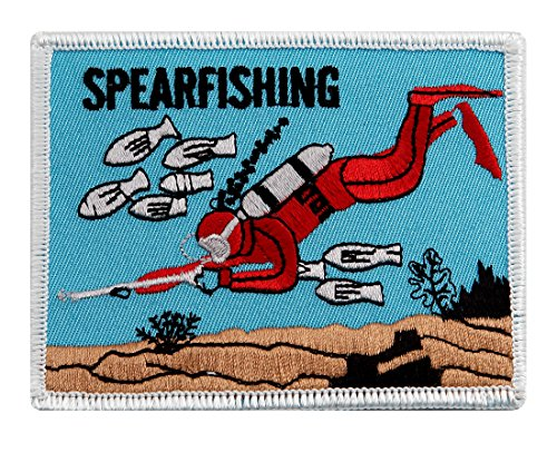 Scuba Spearfishing Patch Embroidered Iron On Retro Diving Emblem Souvenir