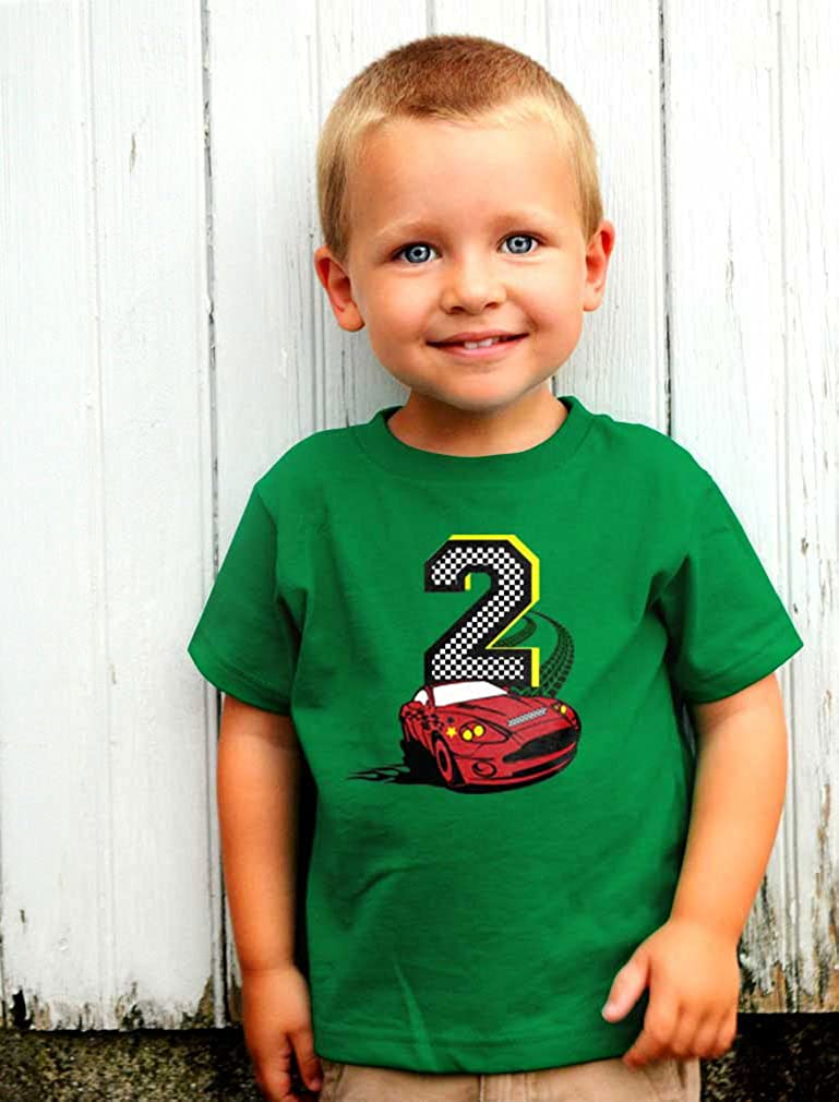 2nd Birthday Race Car Party 2 Year Old Boy Toddler Kids T-Shirt Tstars