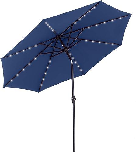 HYD-Parts 10 Feet Solar Patio Umbrella,Outdoor Market Patio Umbrella w/Tilt